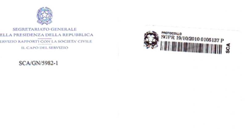 Lettera della Presidenza della Repubblica Italiana